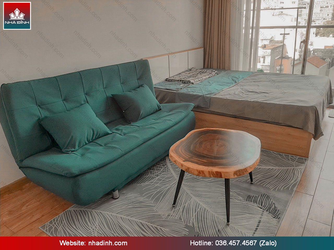 Mặt bàn Sofa gỗ Me Tây nguyên khối được lấy cảm hứng từ phong cách hiện đại